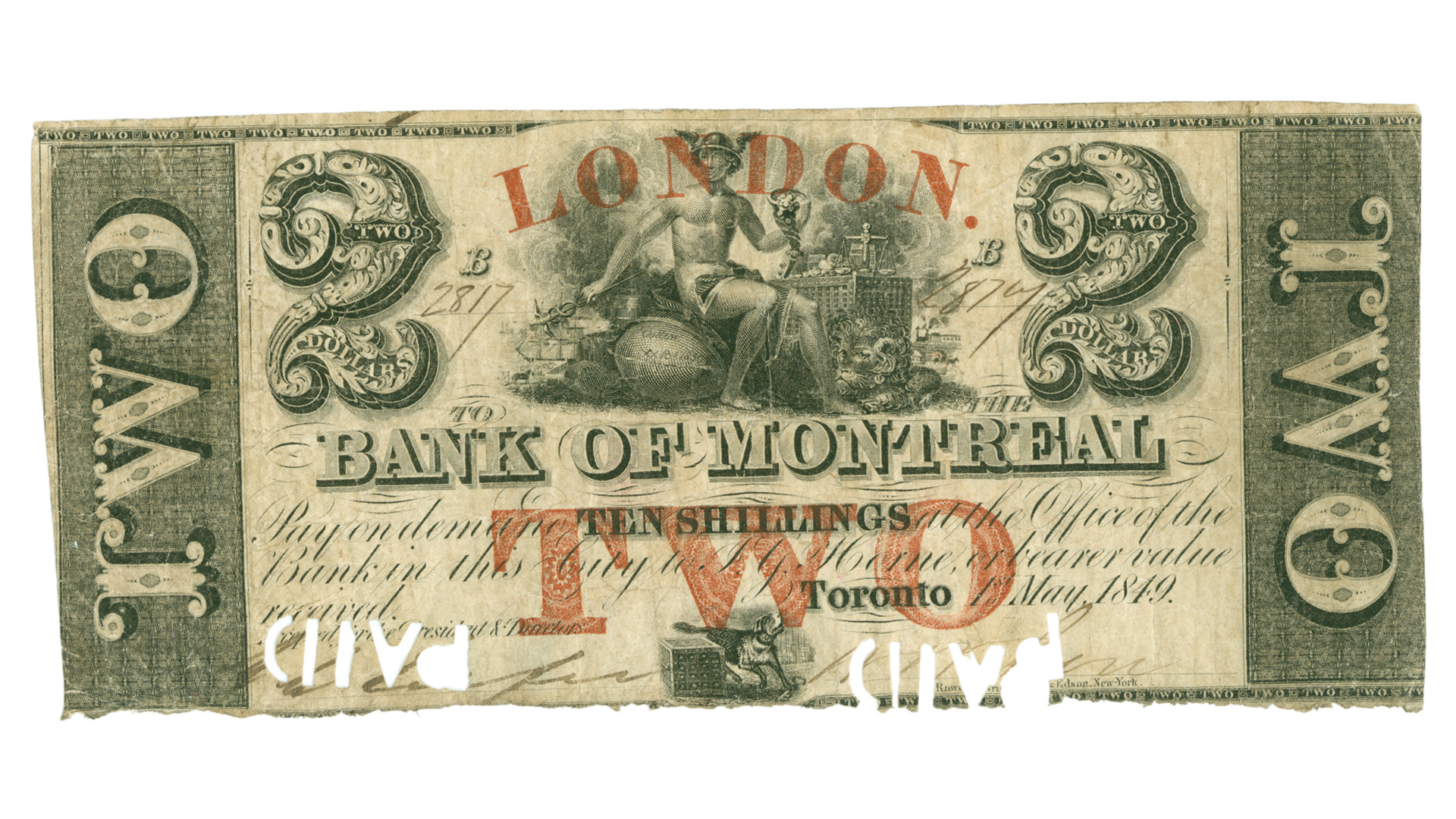 A $2/10 shilling note, issued in 1849.