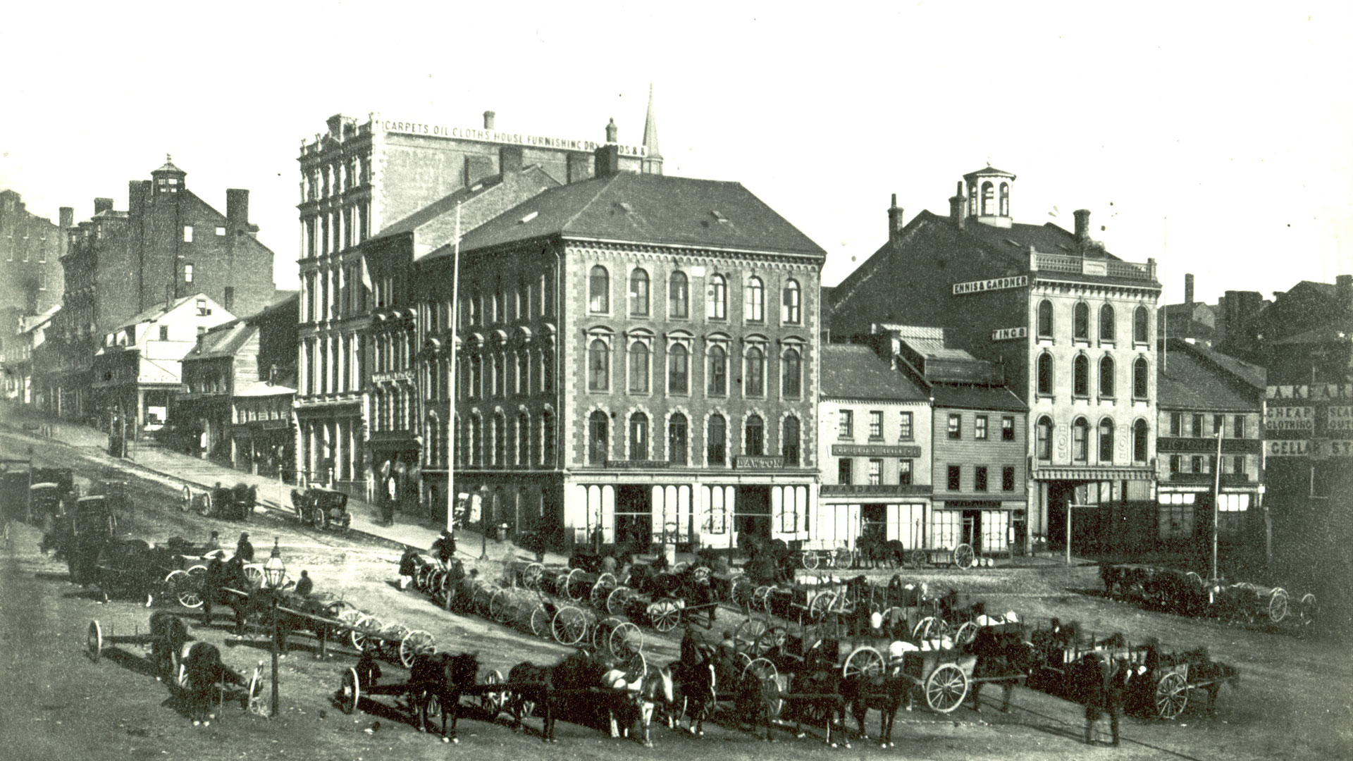 The corner of King and Prince William in Saint John, New Brunswick, circa 1862.