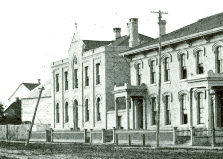 The Bank of Montreal branch at the corner of Main Street and Broadway, Winnipeg, Manitoba, 1879.