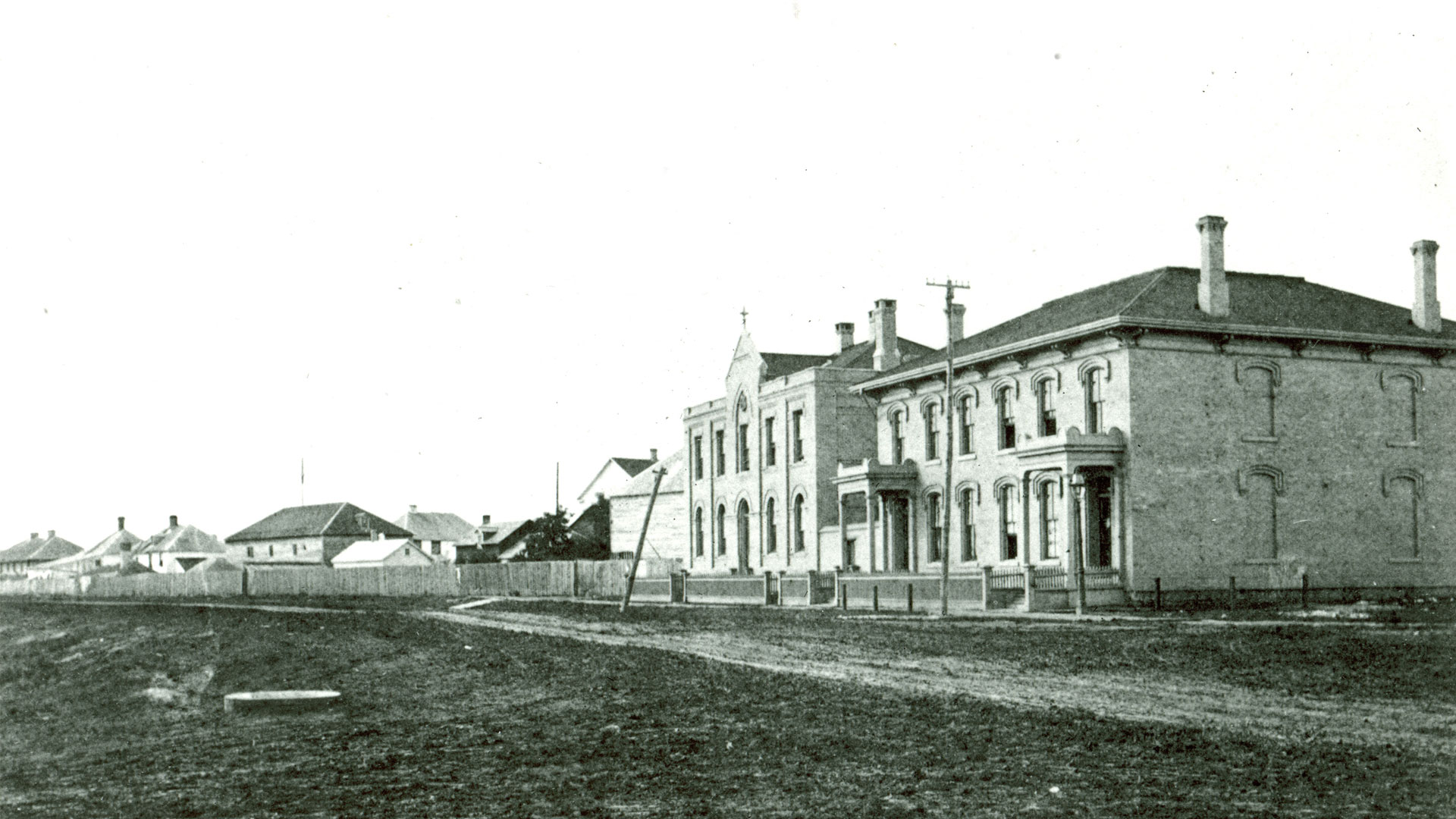Site of the Bank of Montreal branch at the corner of Main Street and Broadway, Winnipeg, Manitoba, 1879.