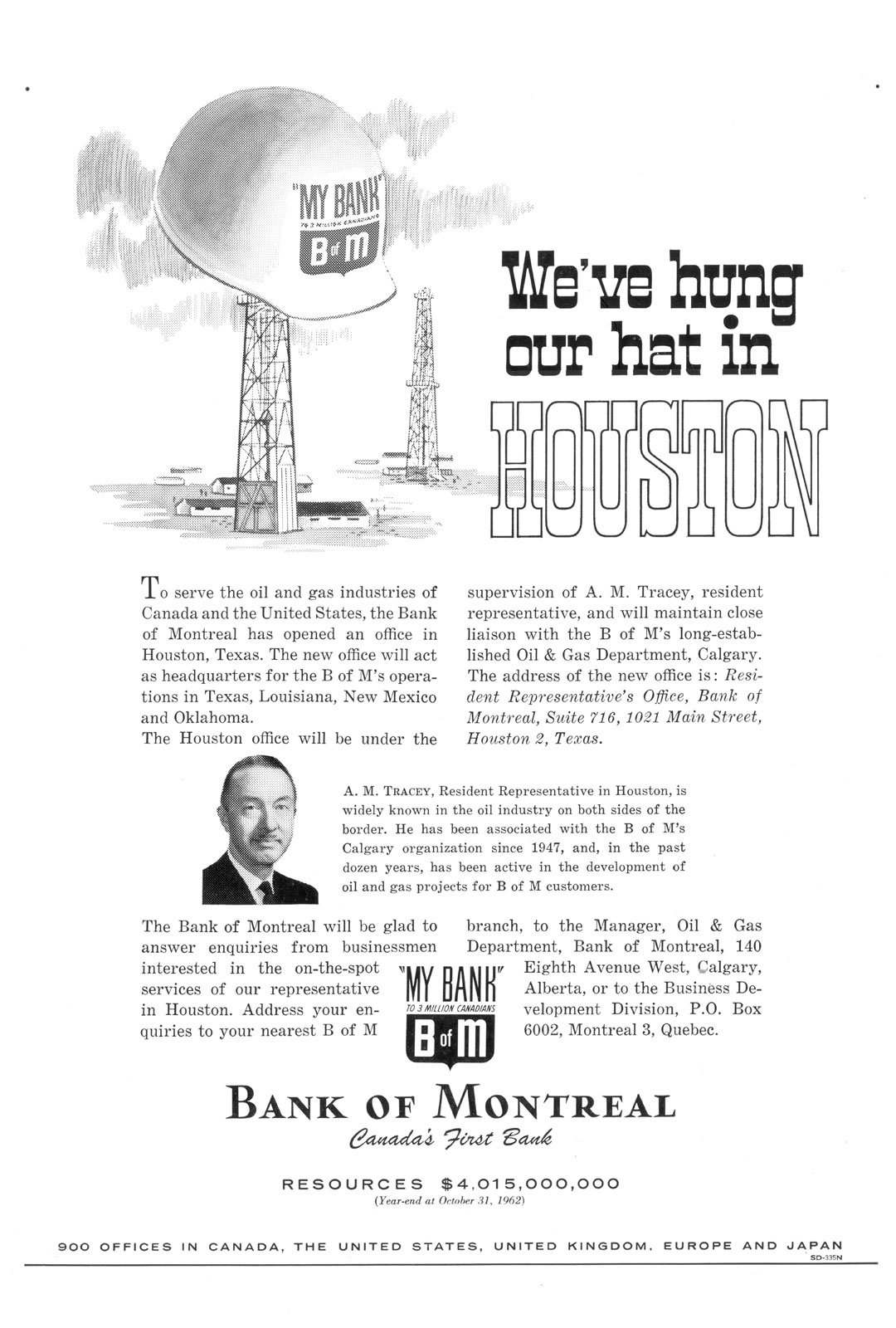 Advertisement announcing the opening of the Bank of Montreal office in Houston, Texas, 1962.
