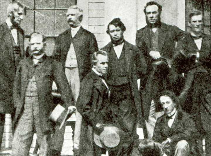 "The ""Fathers of Confederation"" on the stairs of the legislature in Charlottetown, September 1864."